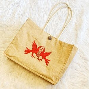 Handbags - Cabo Tan Straw & Red Bird Large Beach Tote